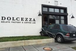 An SUV crashed into the Dolcezza Gelato Factory & Coffee Lab at Union Market on Jan. 9, 2016. (Courtesy NBC Washington)