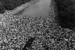Over 200,000 people gather around the Lincoln Memorial in Washington DC, where the civil rights March on Washington ended with Martin Luther King's 'I Have A Dream' speech.   (Photo by Kurt Severin/Getty Images)