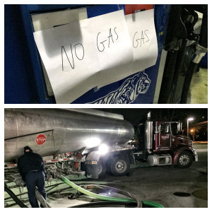 A tanker works to replenish gas tanks at Westfield Montgomery Mall Friday morning. (WTOP/Neal Augenstein)