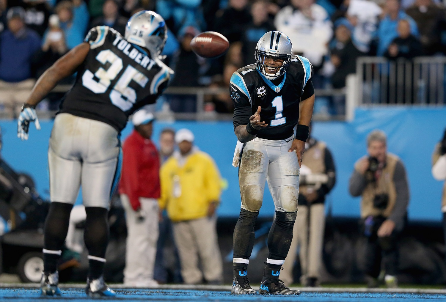 during their game at Bank of America Stadium on January 3, 2016 in Charlotte, North Carolina.