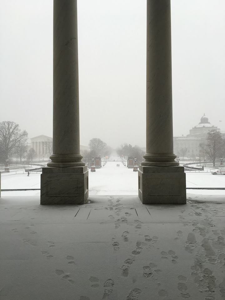 The scene in Washington, D.C. at the start of the snow storm Friday, Jan. 22, 2016. (From Facebook user Jesse Turner)