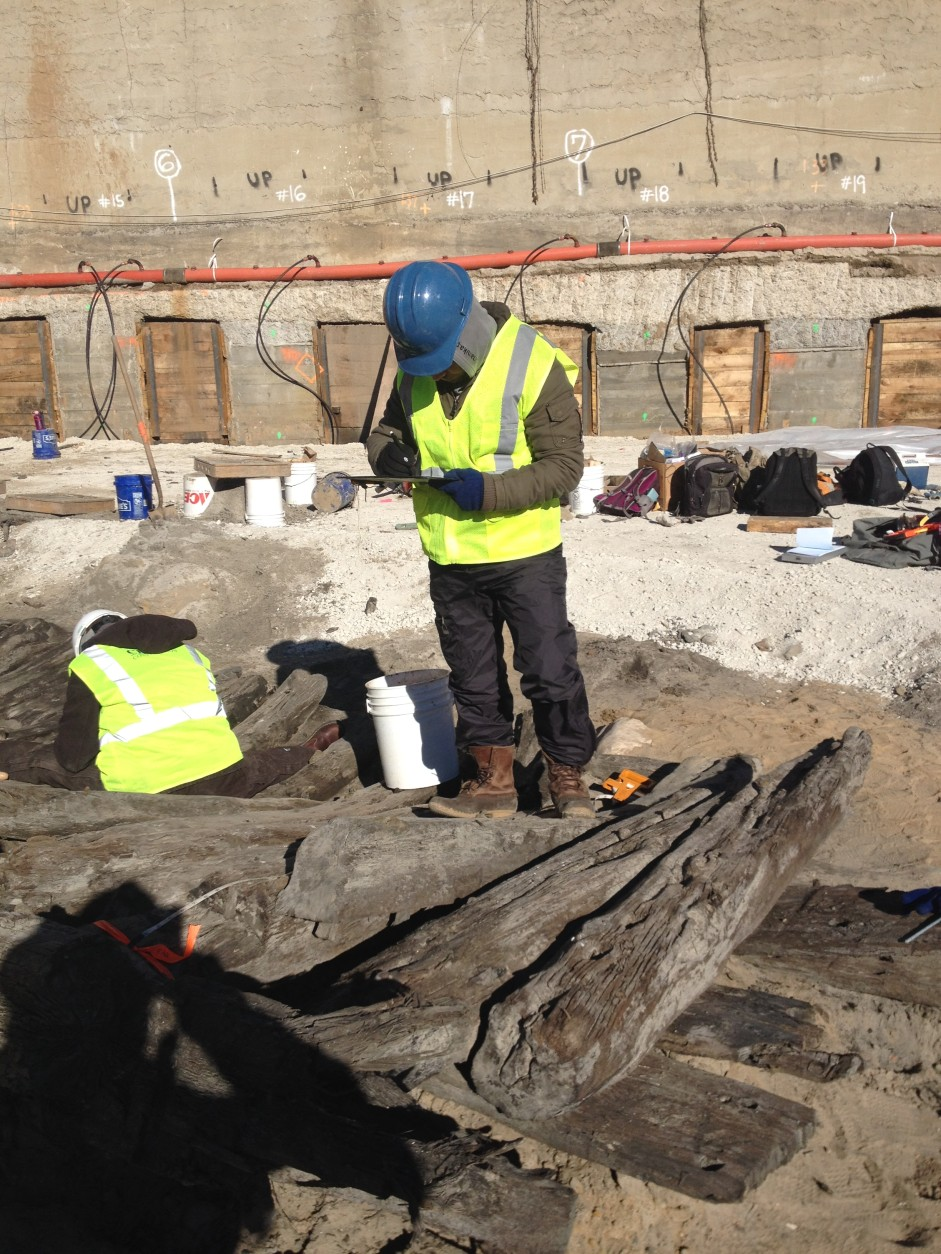 Alexandria archaeologists are working with Thunderbird Archaeological Associates, Inc. and other professionals in both maritime history and conservation. (Courtesy of Robert Kirk, City of Alexandria)