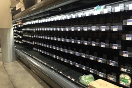 The salad section at this Northwest D.C. Giant supermarket is bare as a major winter storm moves in Friday, Jan. 22, 2016. (WTOP/Max Smith)
