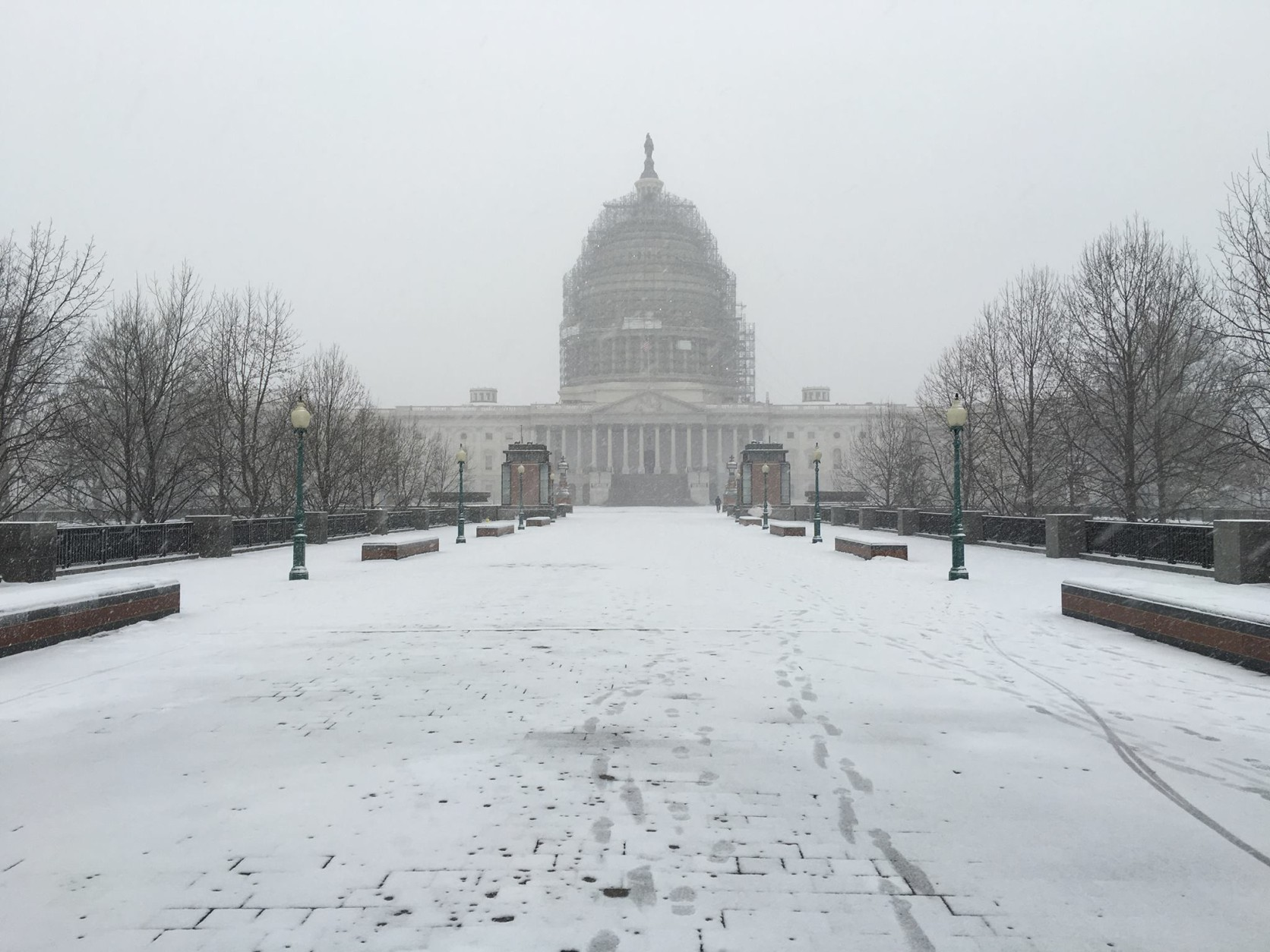 A veiw of the U.S. Capitol building on Friday, Jan. 22, 2016. The D.C.-Metro region is under a blizzard warning for the weekend. (From Facebook user Jesse Turner)