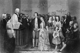 January 1759:  The wedding of George Washington and Martha Dandridge Custis at St Peter's Church, New Kent County, Virginia.  The Reverend John Mossum performs the ceremony.  (Photo by Hulton Archive/Getty Images)