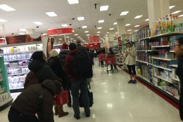 A long line forms at the Target in D.C.'s Columbia Heights neighborhood on Friday, January 22. (Courtesy Lacey Mason)