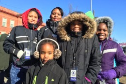 Shalita Cunningham, of D.C. with daughters Chardonnay, Daeja, Jasmine and Allyse, at the MLK Peace Walk. (WTOP/Kristi King)