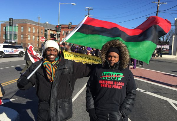 Kamau Grimes and Kristina Jacabs of the National Black United Front. (WTOP/Kristi King)
