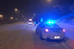 Interstate 95 in Prince William County overnight Friday into Saturday with VDOT Safety Services Patrol. (Courtesy Virginia State Police)