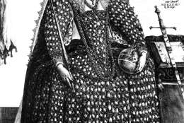 Circa 1588, Queen Elizabeth I (1533 - 1603), supposedly wearing the robes in which she went to St Paul's Cathedral to give thanks for the defeat of the Spanish Armada, complete with an orb and sceptre. In the background is a coat of arms with the inscription, 'Honi S (Photo by Hulton Archive/Getty Images)