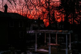 """""""Red sky in the morning, sailor's take warning."""" Sunrise in DC ahead of the snowstorm. (Courtesy WTOP listener)"""