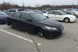 Tire thieves hit the commuter lot in May, September and October 2015. Police ramped up patrols and added temporary security cameras to the lot. (Courtesy of Publix Towing)