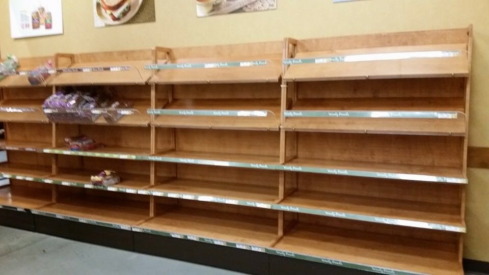 A Germantown Wegmans sold out a number of bags of bread as people prepare for the storm. (WTOP/Zach Shore)