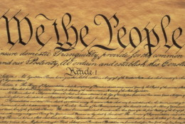 This is the Preamble to the US Constitution, It starts with the phrase We The People and shows only some of the writing from the upper left hand corner of the document of the Constitution, It is written on parchment paper that is now faded, showing its age. (Photo by Visions of America/UIG via Getty Images)