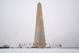 Here's a veiw of the Washington Monument in the midst of a Presidents Day snow storm on. (WTOP/Dave Dildine)