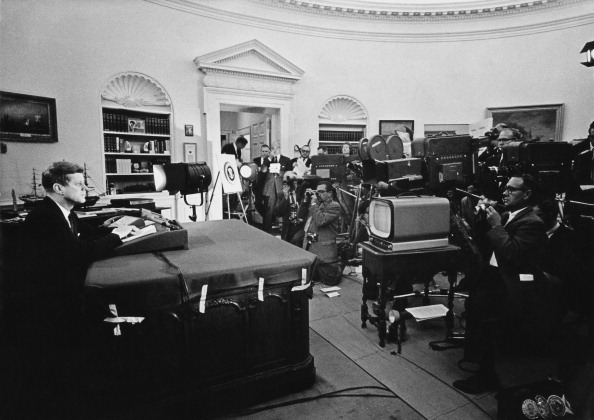 John Fitzgerald Kennedy (1917 - 1963), American president announcing on television the strategic blockade of Cuba, and his warning to the Soviet Union about missile sanctions during the Cuban missile crisis, 22nd October 1962.   (Photo by Keystone/Getty Images)