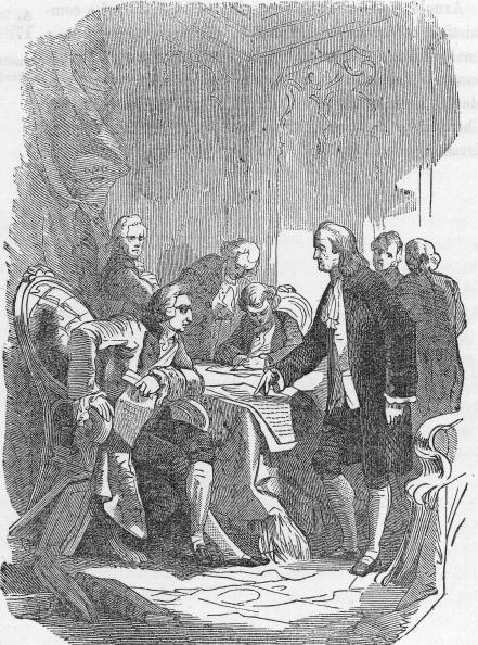 Illustration of representatives of the United States and Great Britain signing the 1783 Treaty of Paris, the agreement which formally ended the American Revolutionary War between Great Britain and the North American colonies, Paris, France, September 3, 1783. Representatives present at the event included English politician David Hartley (1731 - 1813) (representative of Britain), American politician John Adams (1735 ? 1826), American politician and scientist Benjamin Franklin (1706 - 1790), and American politician John Jay (1745 ? 1829). (Photo by Kean Collection/Getty Images)