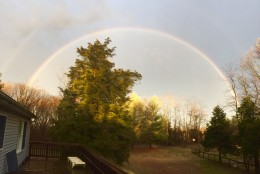 A rainbow spotted in Warrenton, Virginia by a WTOP listener. (Courtesy WTOP listener)