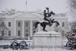 The Andrew Jackson Memorial in Lafayette Square stands tall in the Presidents Day storm, Monday, Feb. 16, 2016. (WTOP/Dave Dildine via Twitter)