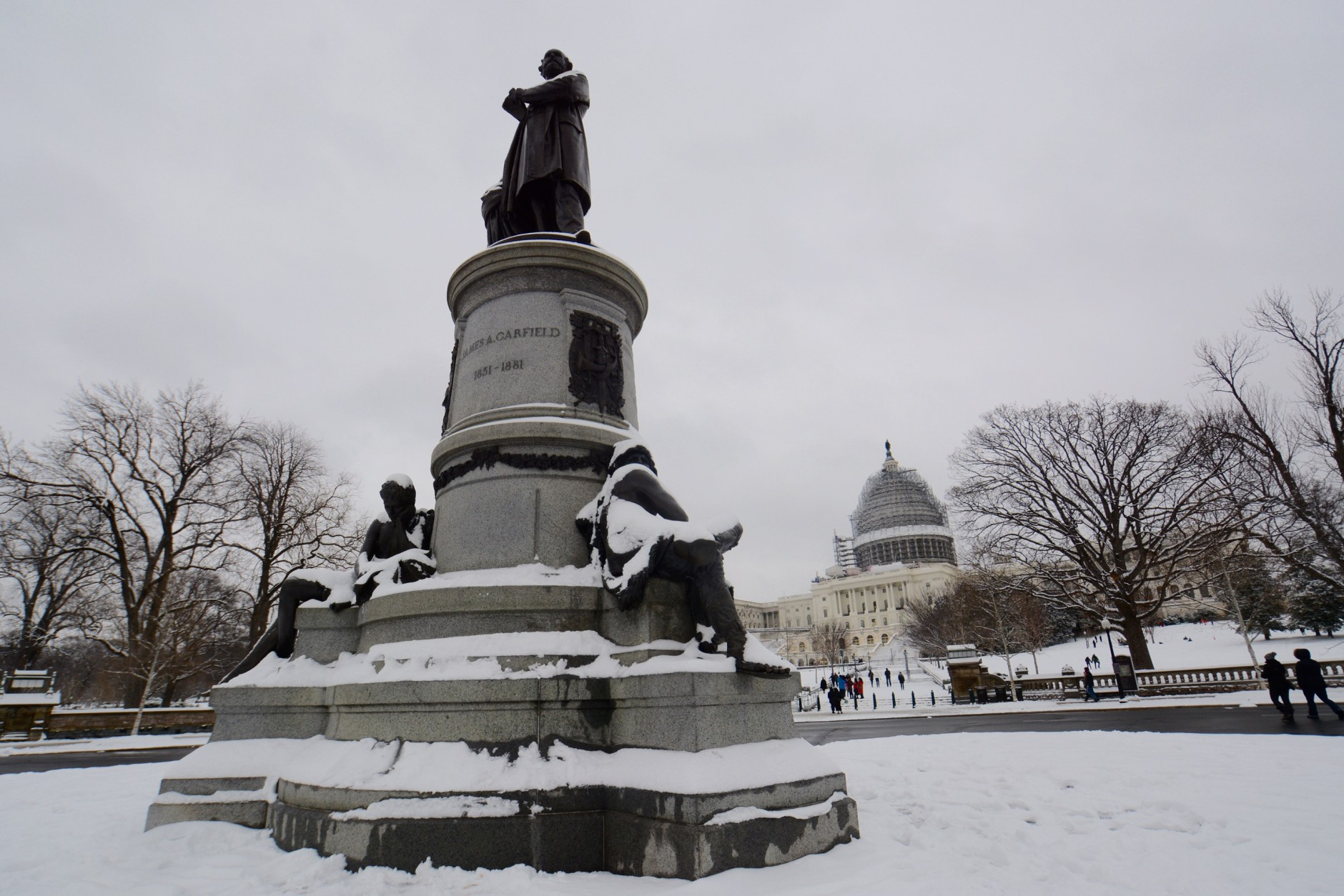 The James A Garfield Monument was stop No. 8 on Dave Dildine's snowy Presidents Day bike ride. (WTOP/Dave Dildine)