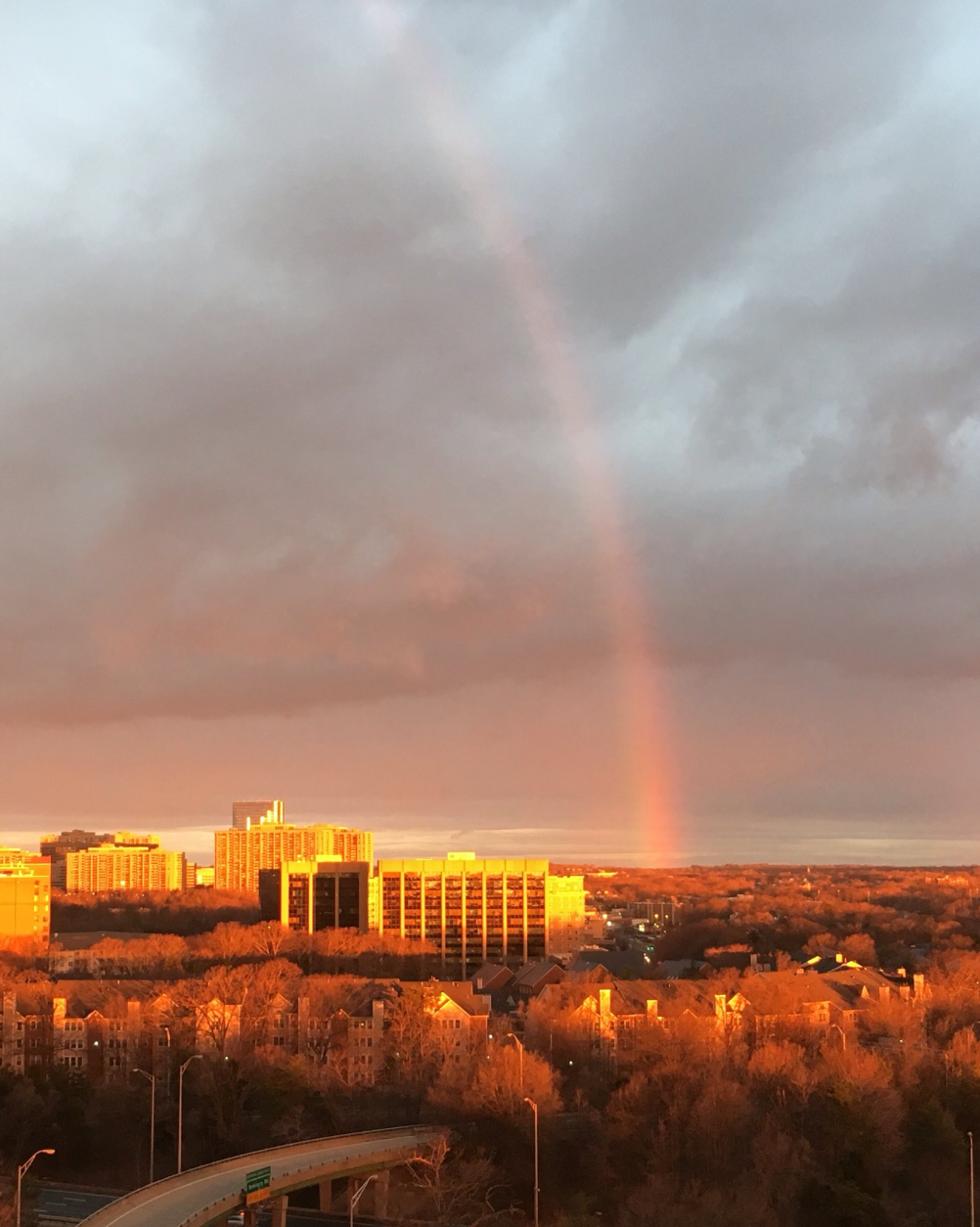 Another post-storm rainbow on the morning of Thrusday, Feb. 25, 2016. (395 & King via Twitter)