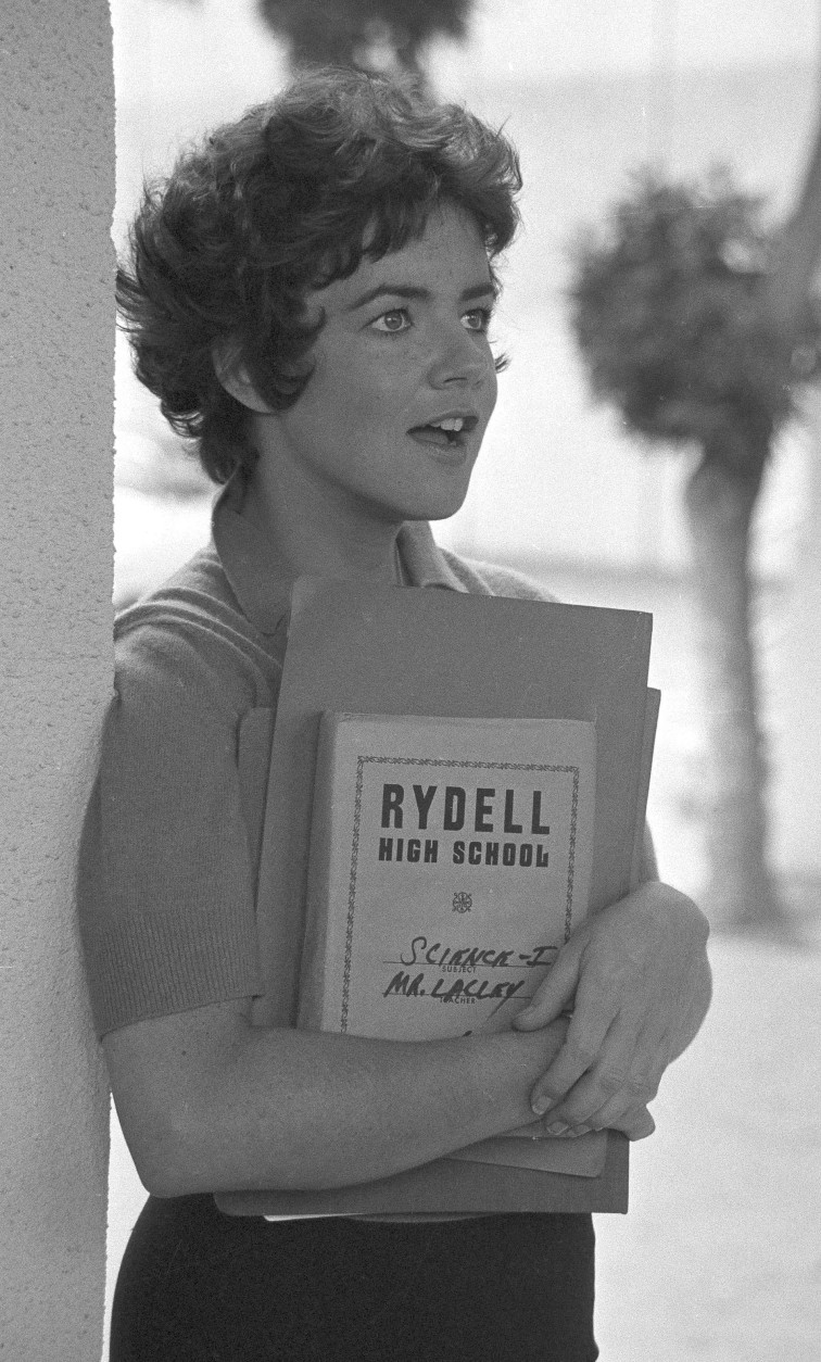 """Stockard Channing readies herself for her role in the movie version of """"Grease,"""" in Los Angeles, Aug. 30, 1977.  Ms. Channing stars with John Travolta and Olivia Newton-John in the film.  (AP Photo/Nick Ut)"""