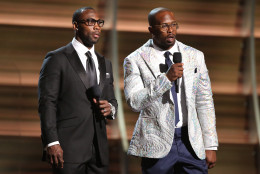 San Francisco 49ers' Anquan Boldin, left, and  Denver Broncos' Von Miller introduce a performance at the 58th annual Grammy Awards on Monday, Feb. 15, 2016, in Los Angeles. (Photo by Matt Sayles/Invision/AP)