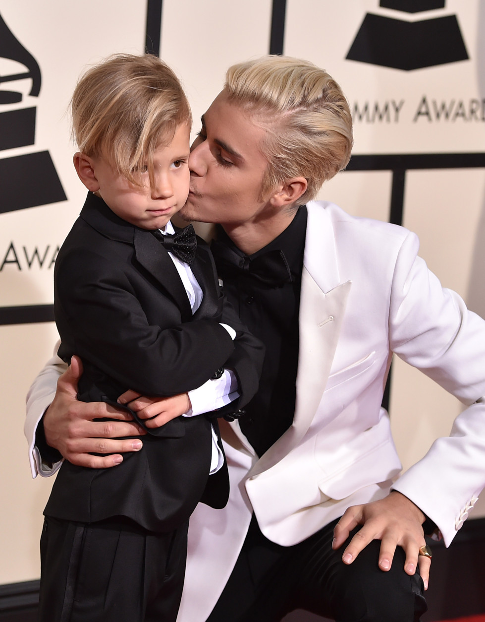 Jaxon Bieber, left, and Justin Bieber arrive at the 58th annual Grammy Awards at the Staples Center on Monday, Feb. 15, 2016, in Los Angeles. (Photo by Jordan Strauss/Invision/AP)