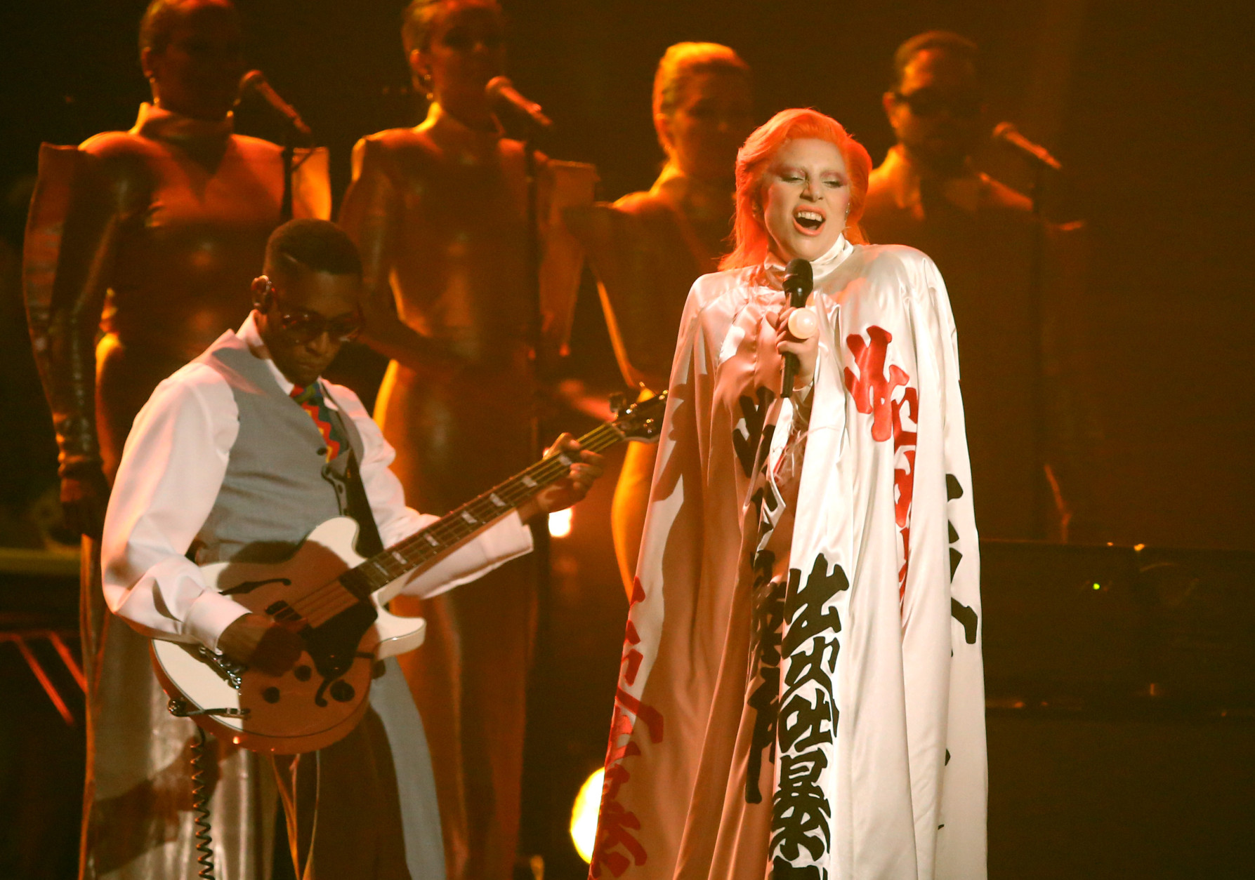 Lady Gaga performs a tribute to David Bowie at the 58th annual Grammy Awards on Monday, Feb. 15, 2016, in Los Angeles. (Photo by Matt Sayles/Invision/AP)