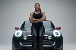 """This image provided by Mini USA shows a still from the company's Super Bowl 50 """"Defy Labels"""" ad spot featuring tennis star Serena Williams. Williams is one of several celebrities being featured in Mini USA's Super Bowl spot. (Mini USA via AP)"""