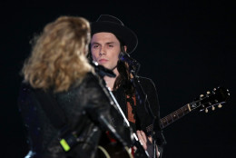 Tori Kelly, left, and James Bay perform at the 58th annual Grammy Awards on Monday, Feb. 15, 2016, in Los Angeles. (Photo by Matt Sayles/Invision/AP)