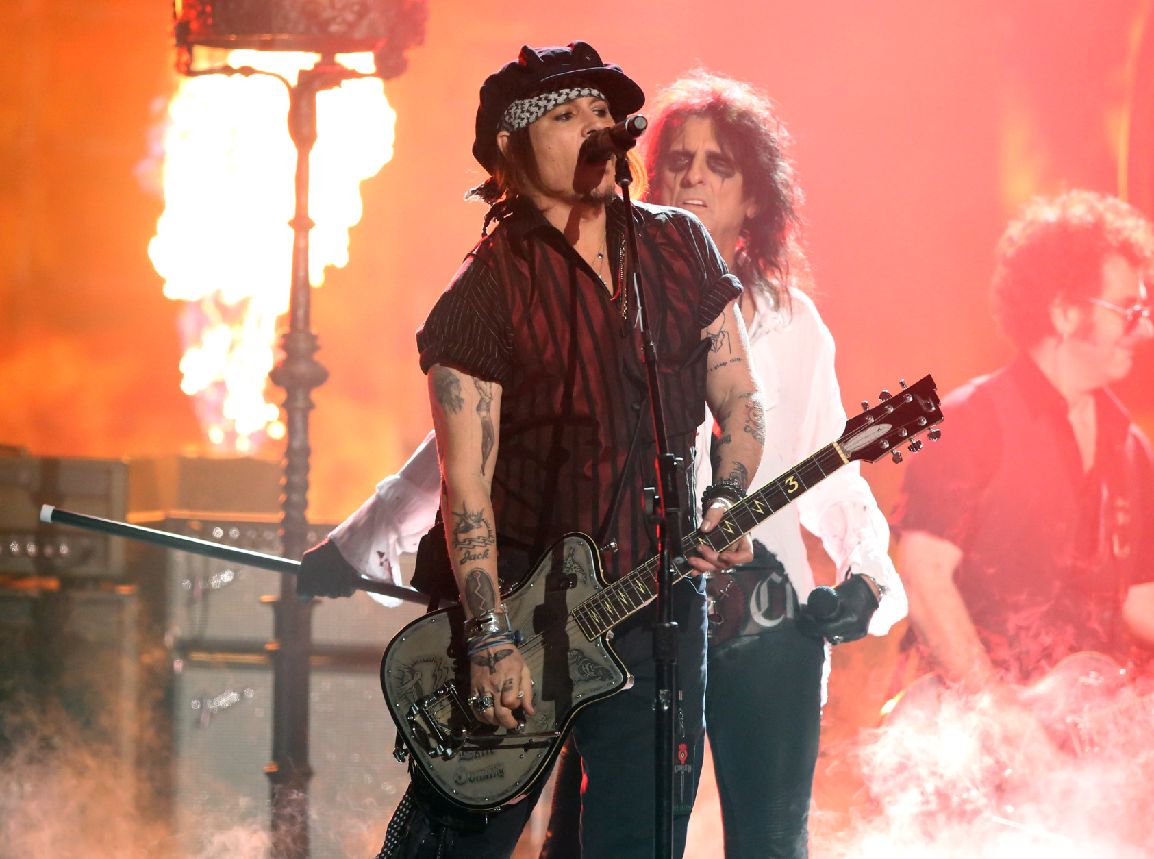 Johnny Depp of Hollywood Vampires performs at the 58th annual Grammy Awards on Monday, Feb. 15, 2016, in Los Angeles. (Photo by Matt Sayles/Invision/AP)