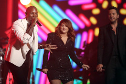 "Tyrese, from left, Meghan Trainor, and Luke Bryan perform ""Brick House"" for a tribute to MusiCares Person of the Year honoree Lionel Richie at the 58th annual Grammy Awards on Monday, Feb. 15, 2016, in Los Angeles. (Photo by Matt Sayles/Invision/AP)"