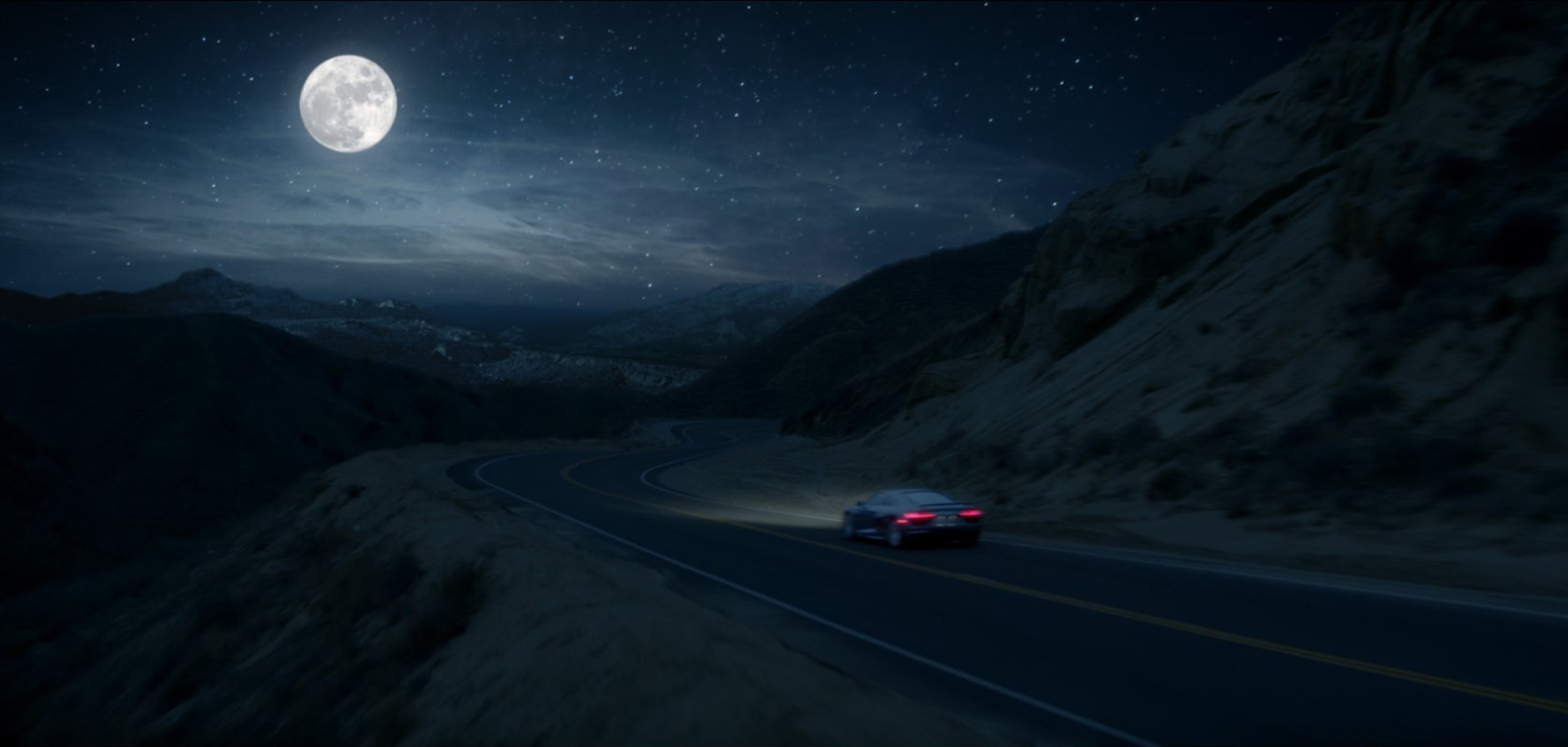 """This image provided by Audi shows a scene from the company's """"The Commander"""" spot for Super Bowl 50. The ad features the new Audi R8 V10. (Audi via AP)"""
