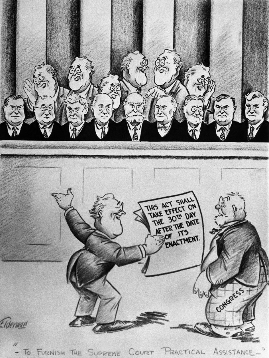 This editorial cartoon depicts President Franklin Roosevelt and the Supreme Court, Feb. 6, 1937. (AP Photo)
