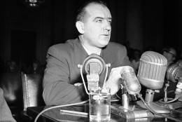 Sen. Joseph R. McCarthy (R-Wisc.) testifies in Washington, March 8, 1950 before a Senate foreign relations subcommittee named to hear his charges that Communists have infiltrated the State department. McCarthy was the first witness before the group. (AP Photo/Herbert K. White)