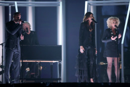 "Jimi Westbrook, from left, Philip Sweet, Karen Fairchild, and Kimberly Schlapman of Little Big Town perform ""Girl Crush"" at the 58th annual Grammy Awards on Monday, Feb. 15, 2016, in Los Angeles. (Photo by Matt Sayles/Invision/AP)"