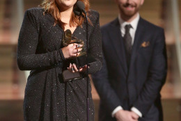 Meghan Trainor accepts the award for best new artist at the 58th annual Grammy Awards on Monday, Feb. 15, 2016, in Los Angeles. (Photo by Matt Sayles/Invision/AP)