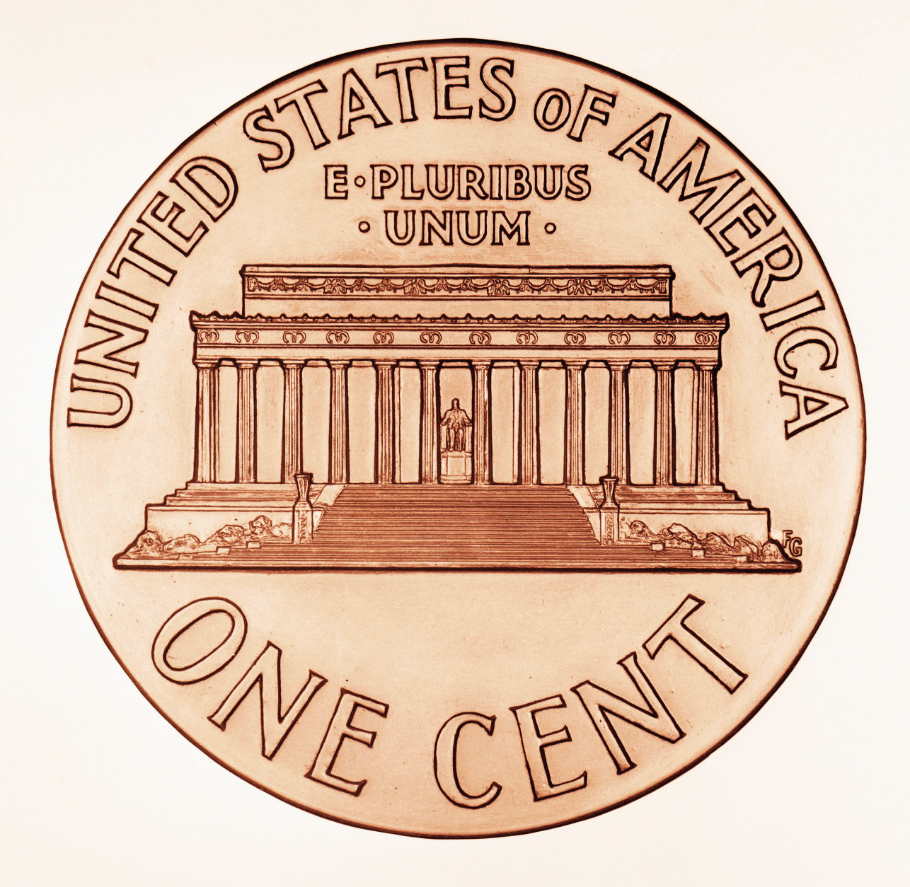 This illustration shows the new reverse side that will appear on one-cent Lincoln pennies, the White House announced Dec. 20, 1958. The portrait of Lincoln on the face will remain unchanged.The new reverse portrays the Lincoln Memorial in Washington. The change is a feature of the Lincoln sesquicentennial observance.(AP Photo)