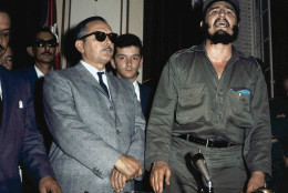 Fidel Castro, at right,  speaking just after he took office as new Cuban leader during  a television  speech, with Cuban President Manuel Urrutia left on Feb. 16, 1959. (AP Photo)