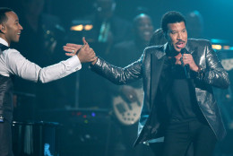 John Legend, left, and Lionel Richie perform during a tribute in his honor at the 58th annual Grammy Awards on Monday, Feb. 15, 2016, in Los Angeles. (Photo by Matt Sayles/Invision/AP)