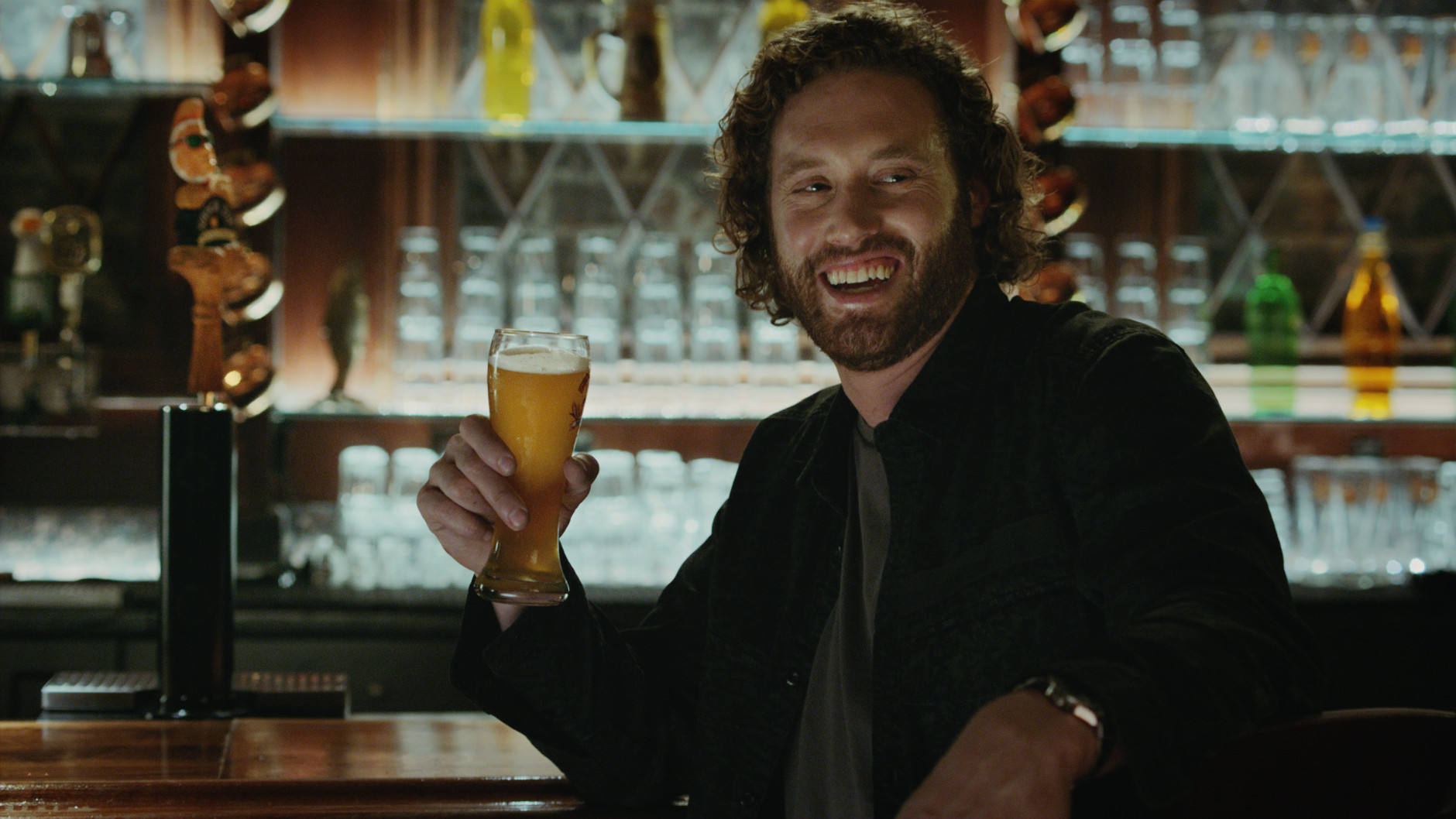 This image provided by Shock Top shows a still from the company's Super Bowl 50 ad spot featuring T.J. Miller. Super Bowl 50, between the Denver Broncos and the Carolina Panthers, will be played Sunday, Feb. 7, 2016. (Shock Top via AP)