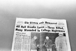 The Orangeburg, Times- Democrat newspaper hit the streets Friday, February 9, 1968 with these headlines after disastrous exchange of gunfire Thursday night between state police and rioting Black students at South Carolina State College. Three were killed and many wounded. (AP Photo)