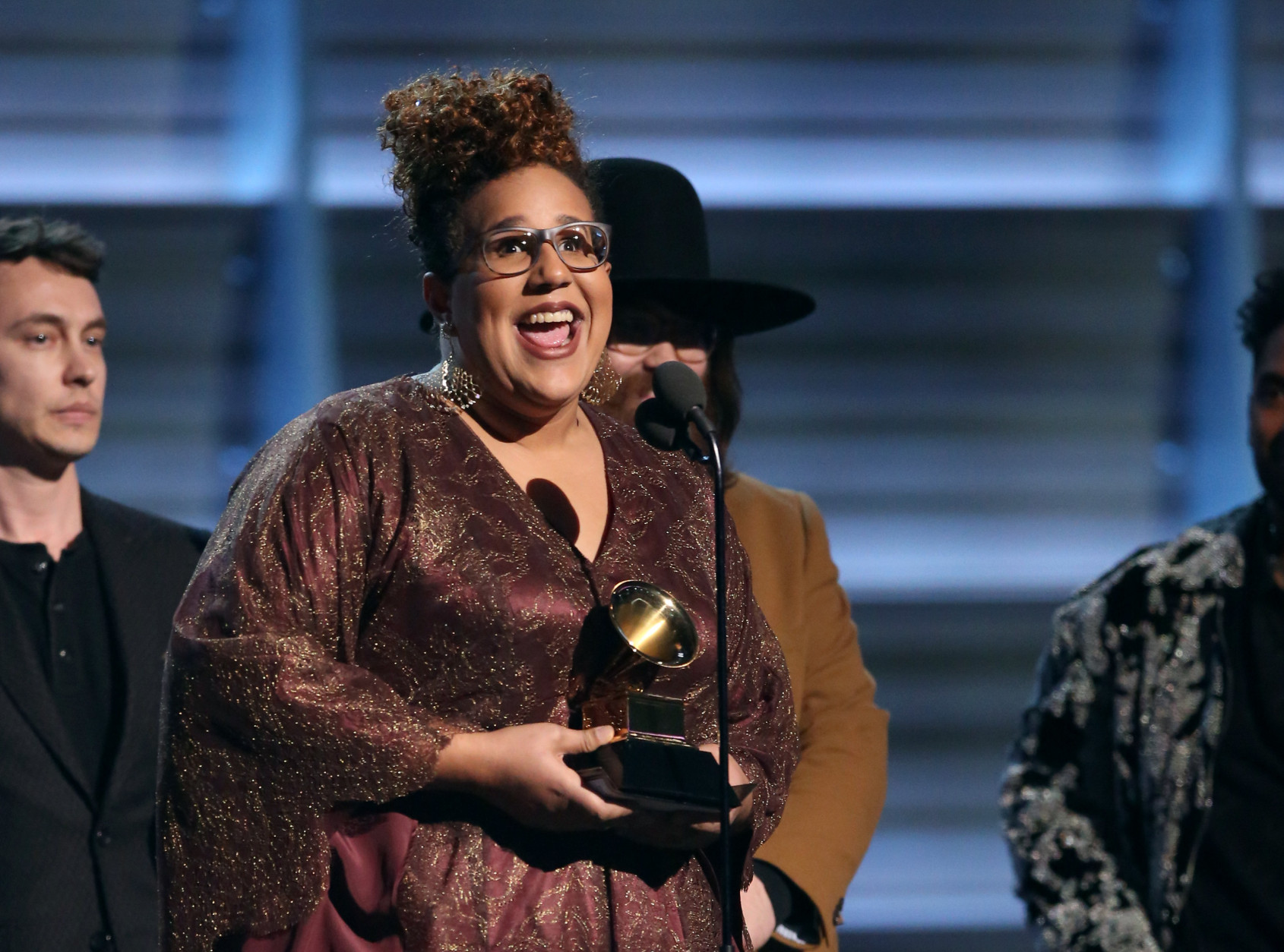 "Brittany Howard of The Alabama Shakes accepts the award for best rock performance for ""Don't Wanna Fight"" at the 58th annual Grammy Awards on Monday, Feb. 15, 2016, in Los Angeles. (Photo by Matt Sayles/Invision/AP)"
