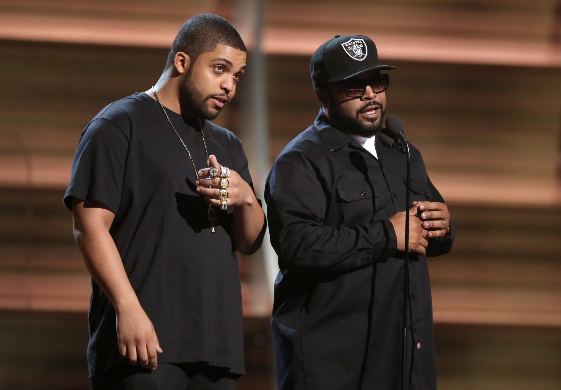 O'Shea Jackson Jr., left, and Ice Cube present the award for best rap album at the 58th annual Grammy Awards on Monday, Feb. 15, 2016, in Los Angeles. (Photo by Matt Sayles/Invision/AP)