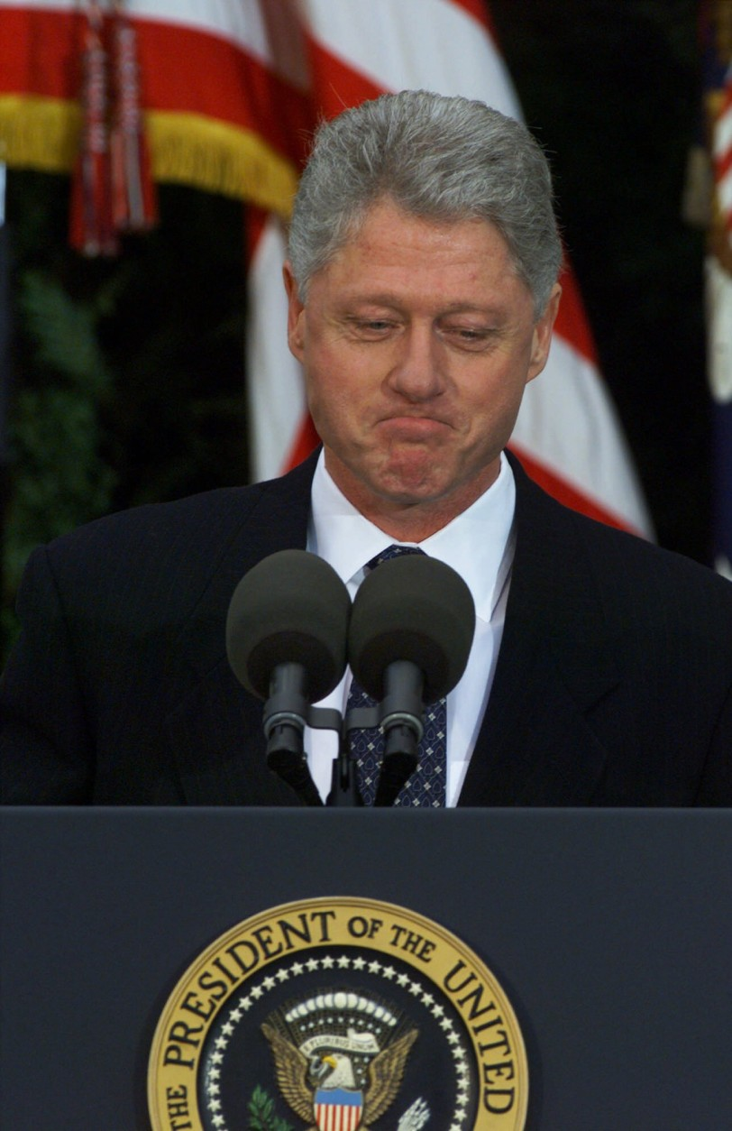 "Saying he was ""humbled,"" President Clinton makes a statement in the Rose Garden at the White House, Friday, Feb. 12, 1999, after the Senate acquitted him of perjury and obstruction of justice, ending a 13-month drama that catapulted an affair with a White House intern into only the second presidential impeachment trial in history. Permitted to finish his term, the 42nd president declared he was ""profoundly sorry ... for what I said and did.""( AP Photo/J. Scott Applewhite)"