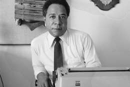 """FILE - In this May 16, 1974, file photo, writer Alex Haley, a West Tennessee native who traced his family back to Africa is pictured in his San Francisco apartment. Under proposed changes to Tennessee's social studies curriculum, public school students would no longer be required to be taught about Haley and the impact of his Pulitzer-prize winning book """"Roots: The Saga of an American Family."""" (AP Photo/File)"""