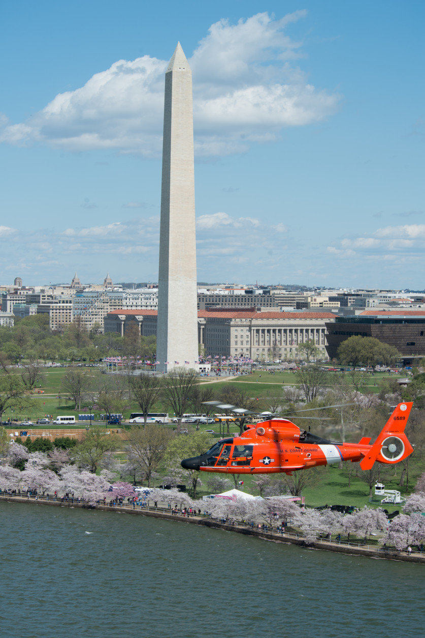 Helicopter crews from the Coast Guard's National Capitol Region Air Defense Facility flew Monday, March 28, 2016. The crews fly around the capitol during trainings, familiarization flights, and responses. U.S. Coast Guard photo by Petty Officer 2nd Class David R. Marin