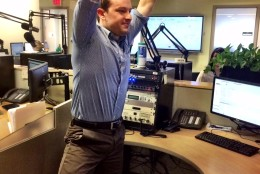Challenge your balance with a tree pose at work. (WTOP/Rachel Nania)