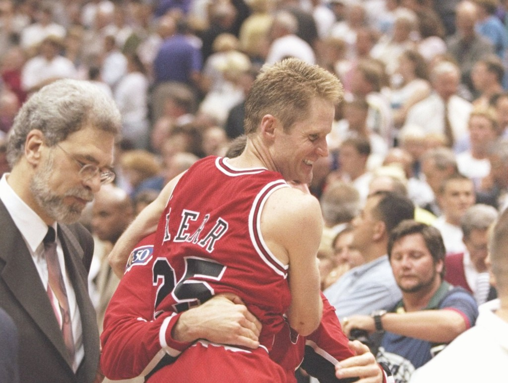 Kerr won three of his five titles as a player under Phil Jackson.  (Getty Images/Brian Bahr)